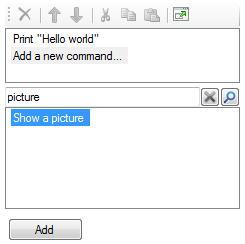 Script Editor showing a command search