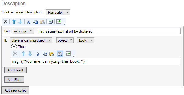 Script Editor Code View - nested script section